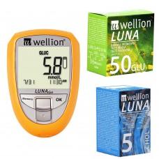 Глюкометр Wellion Luna Duo+тест-полоски №50 25 шт. (глюкоза)+тест-полоски №5 (холестерин)