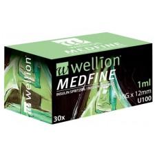 Инсулиновые шприцы Wellion MEDFINE 1.0 мл с иглой 12 мм 30 шт