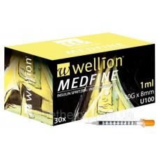 Инсулиновые шприцы Wellion MEDFINE 1.0 мл с иглой 8 мм